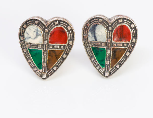 Moschino Couture Stained Glass Enamel Heart Earrings