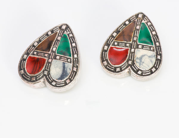 Moschino Couture Stained Glass Enamel Heart Earrings1