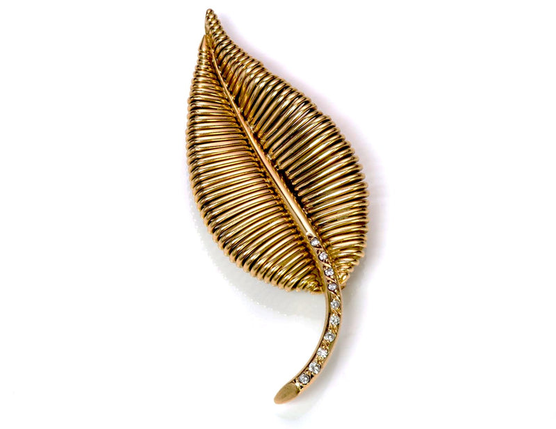 Mauboussin 18K Gold Diamond Leaf Brooch