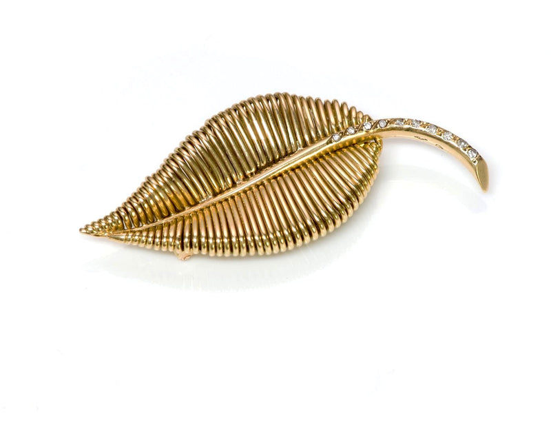 Mauboussin 18K Gold Diamond Leaf Brooch 1