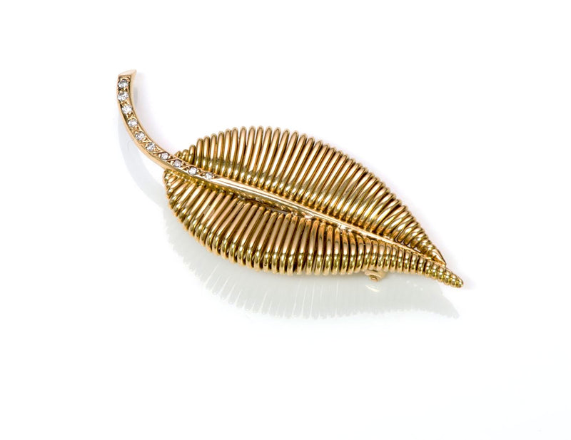 Mauboussin 18K Gold Diamond Leaf Brooch 2
