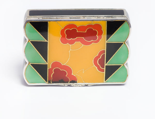 Art Deco Silver Enamel Lipstick Powder Box Case