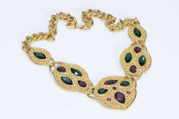 NAPIER Couture Green Purple Crystal Necklace