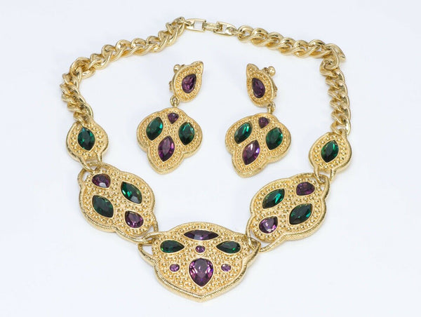 NAPIER Couture Green Purple Crystal Earrings Necklace Set