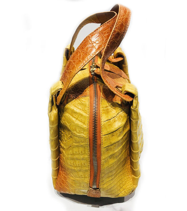Nancy Gonzalez Yellow Orange Ombre Crocodile Satchel Bag 2