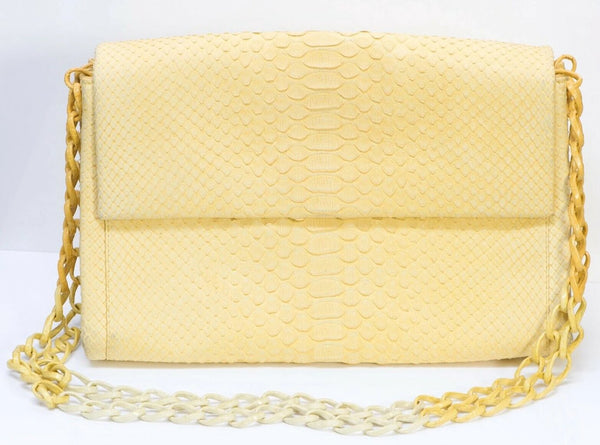 Nancy Gonzalez Yellow Python Snakeskin Flap Bag