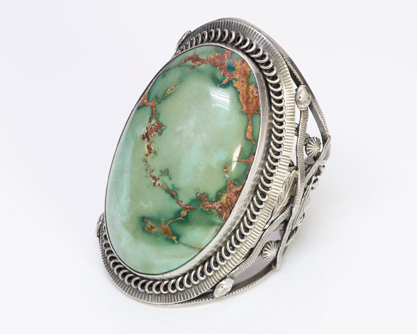 Native American Indian Silver Turquoise Cuff Bracelet