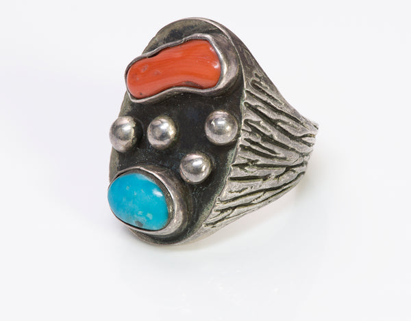 American Indian Silver Coral Men's Ring