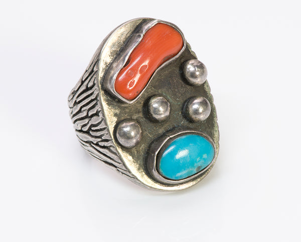 American Indian Silver Coral Turquoise Men's Ring