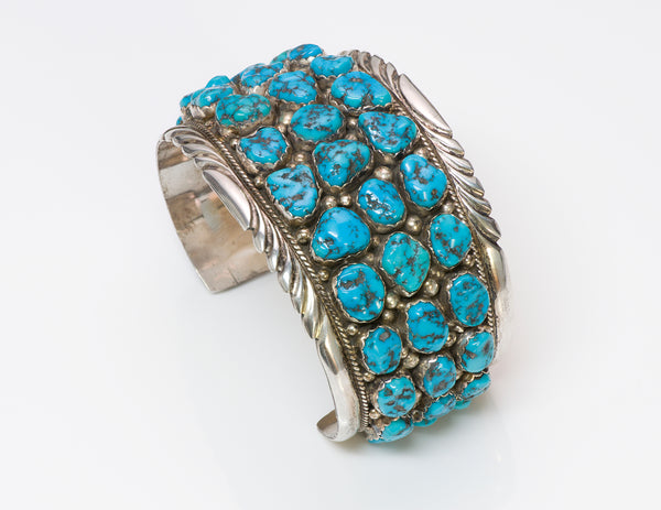 Navajo Silver Turquoise Cuff Bracelet
