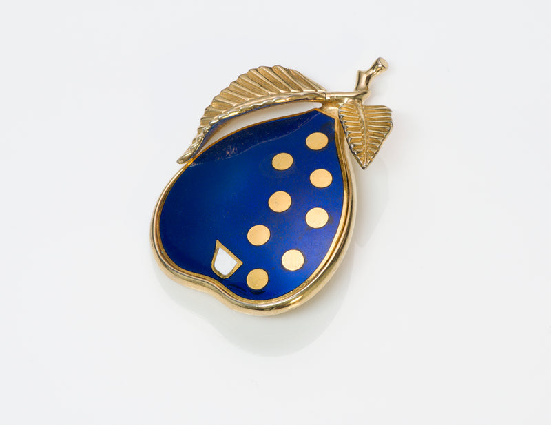 Nettie Rosenstein Blue Enamel Pear Brooch
