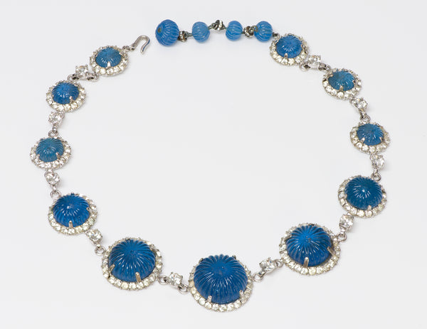 Nettie Rosenstein Sterling Silver Blue Glass Crystal Necklace