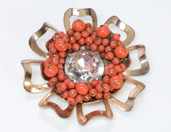 Nettie Rosenstein 1950's Silver Faux Coral Crystal Flower Brooch