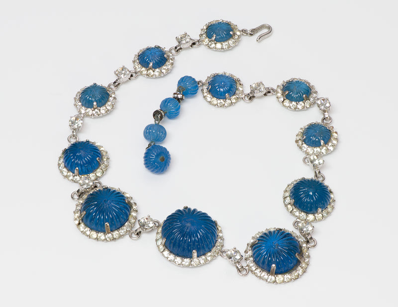 Nettie Rosenstein Sterling Silver Blue Glass Crystal Necklace 1
