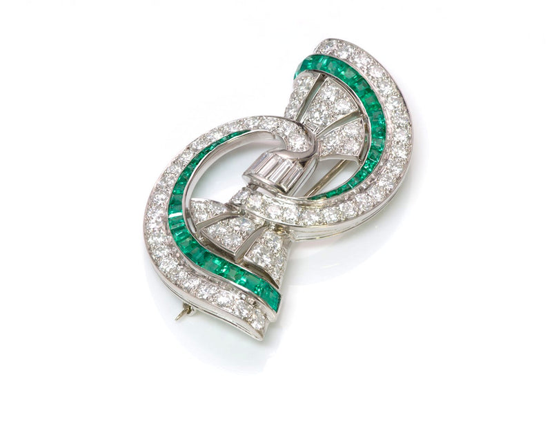 Oscar Heyman Emerald Diamond Platinum Brooch 3