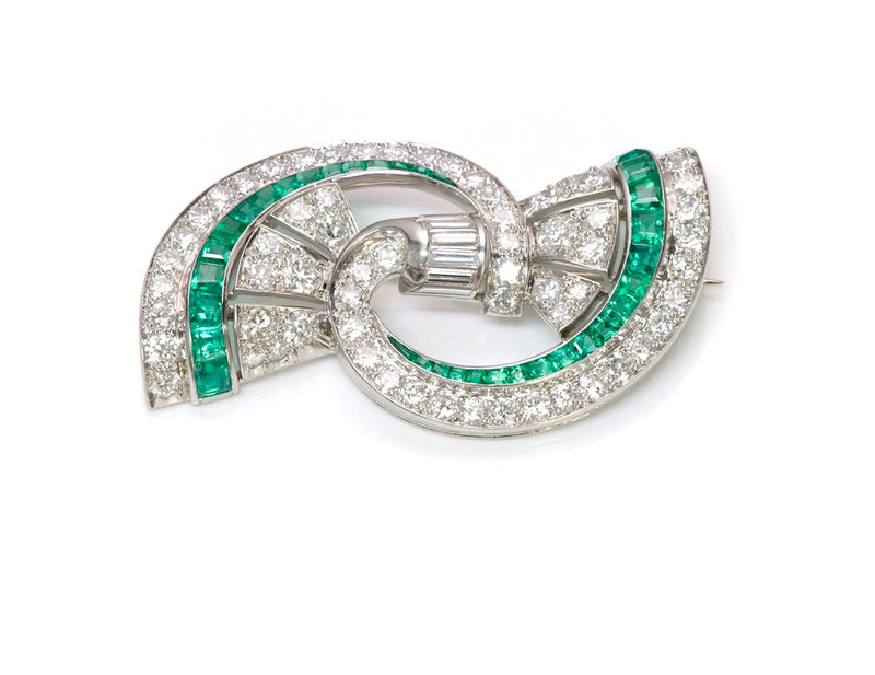 Vintage Oscar Heyman Emerald Diamond Brooch