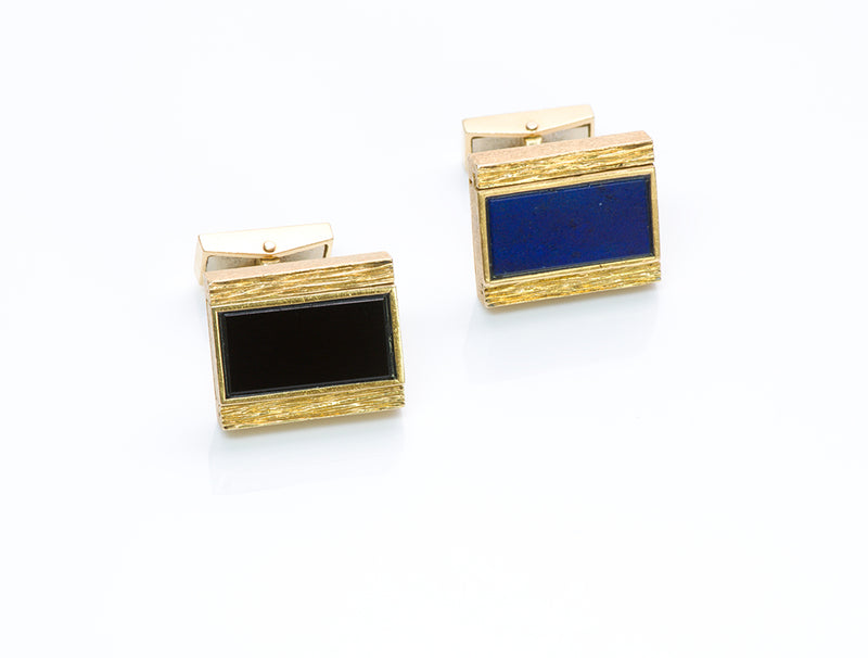 Onyx Lapis Gold Cufflinks
