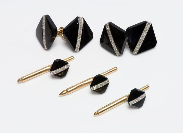 Art Deco Platinum & Gold Onyx & Diamond Cufflink & Stud Set