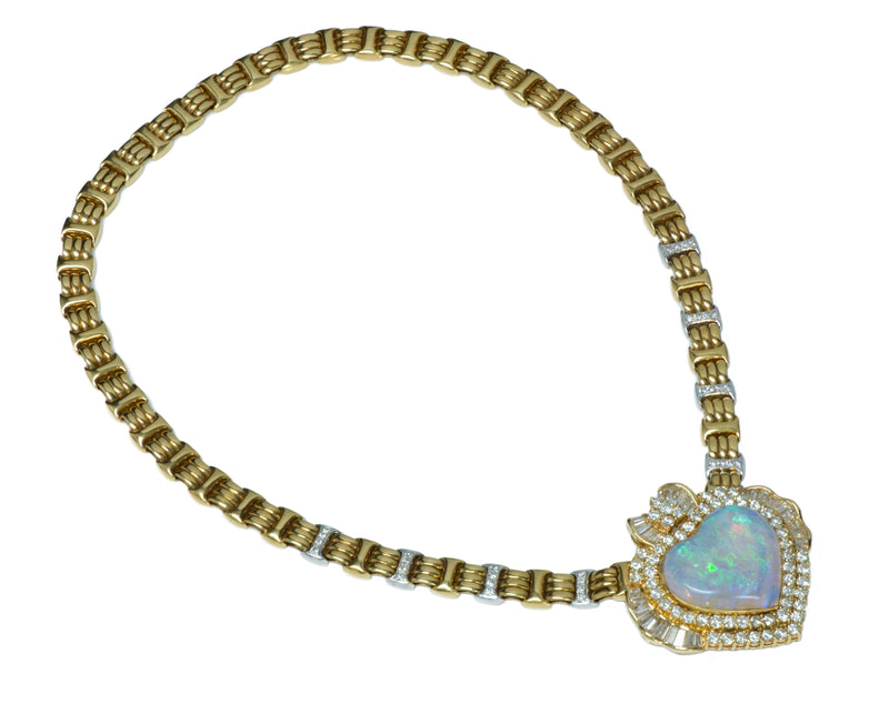 Opal Heart Gold Diamond Necklace