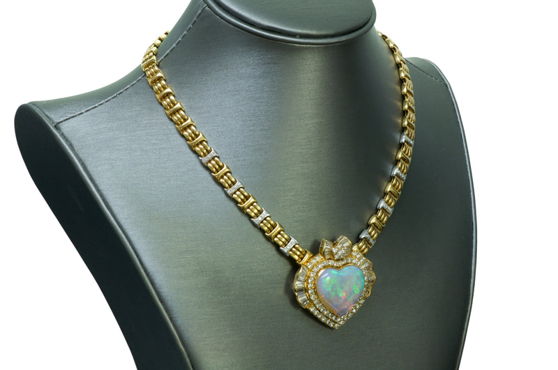 Opal Heart Diamond Gold Necklace