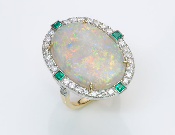 Opal Emerald Diamond Gold Platinum Ring