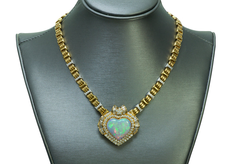 Opal Heart 18k Gold Diamond Necklace