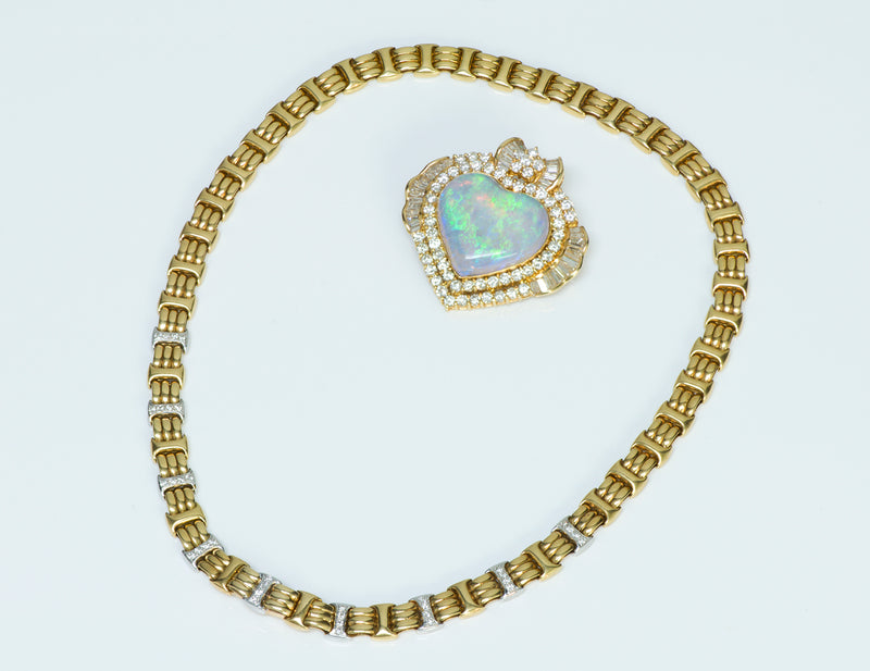 Opal Heart Gold Diamond Necklace Brooch