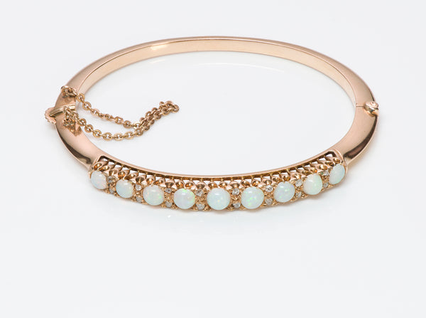 Antique Opal Gold Diamond Bangle Bracelet