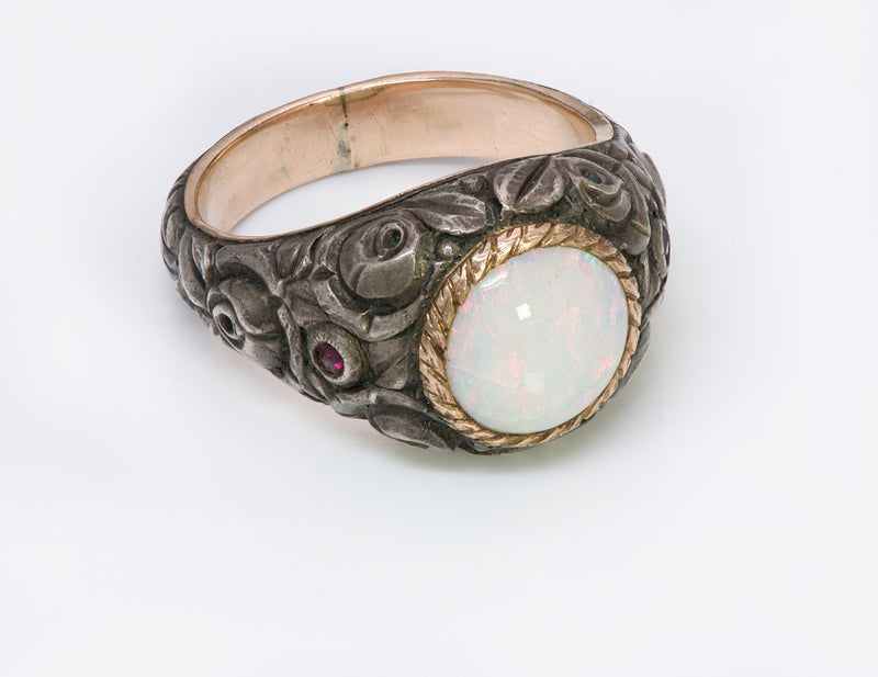 Antique Opal Silver Gold Men's Ring