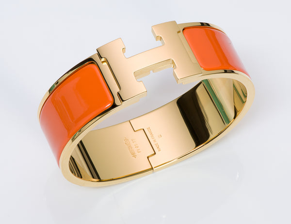 Hermes Orange Enamel Clic Clac Bangle Bracelet PM