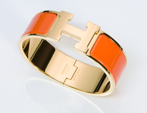 Hermes H Wide Orange Enamel Clic Clac Bangle Bracelet PM