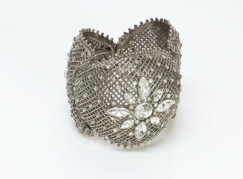 Orciani Italy Silver Tone Crystal Metal Lace Cuff Bracelet