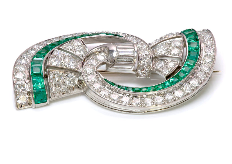 Oscar Heyman Emerald Diamond Platinum Brooch 2