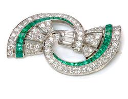 Oscar Heyman Emerald Diamond Platinum Brooch