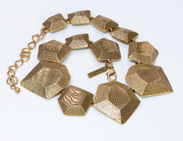 Oscar de la Renta Gold Tone Geometric Textured Necklace