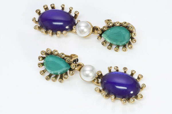 Oscar de la Renta Green Crystal Purple Glass Pearl Earrings