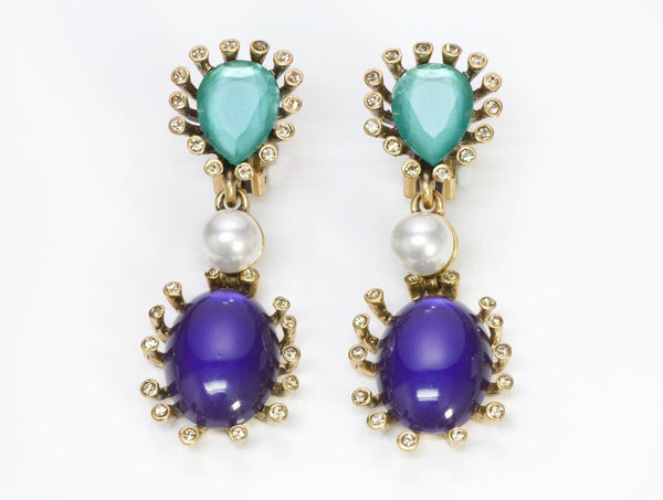 Oscar de la Renta Green Crystal Purple Glass Pearl Long Earrings