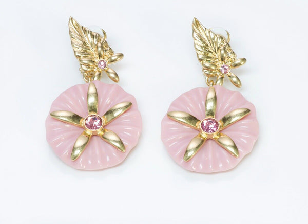 Oscar de la Renta Long Pink Crystal Flower Earrings