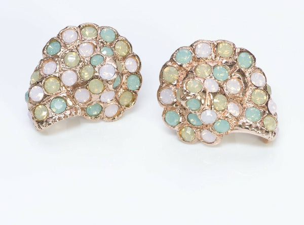 Oscar de la Renta Crystal Shell Earrings