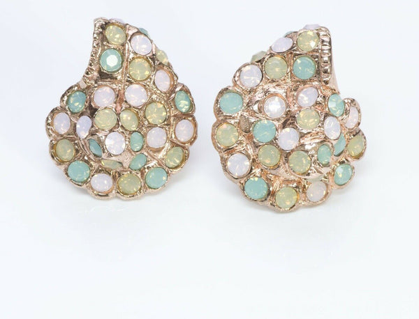Oscar de la Renta Pink Green Crystal Shell Earrings