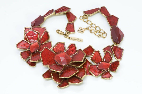 Oscar de la Renta Runway Red Enamel Crystal Necklace