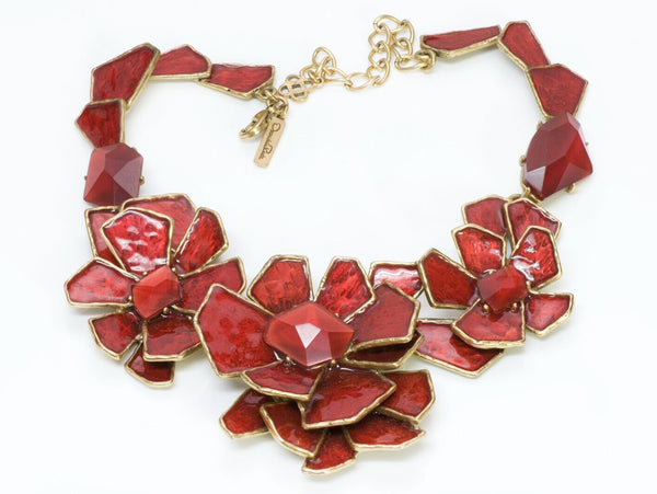 Oscar de la Renta Runway Red Enamel Crystal Flower Necklace
