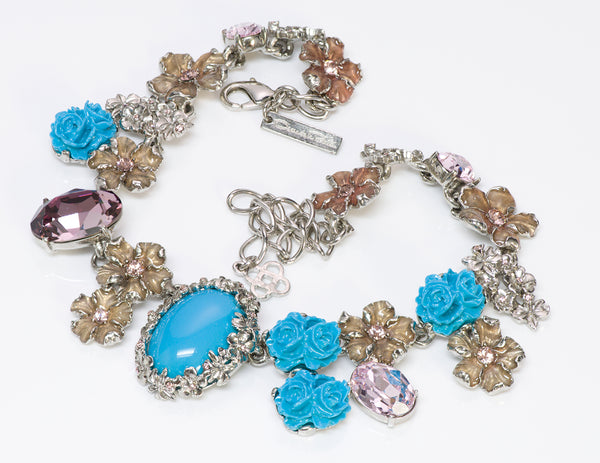 Oscar de la Renta Pink Crystal Faux Turquoise Rose Flower Necklace