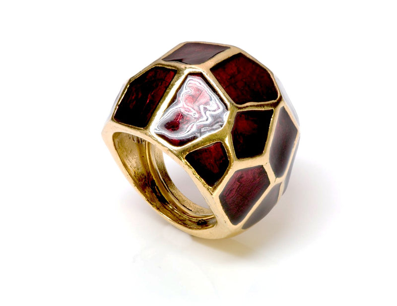 Oscar de la Renta Red Enamel Cocktail Ring