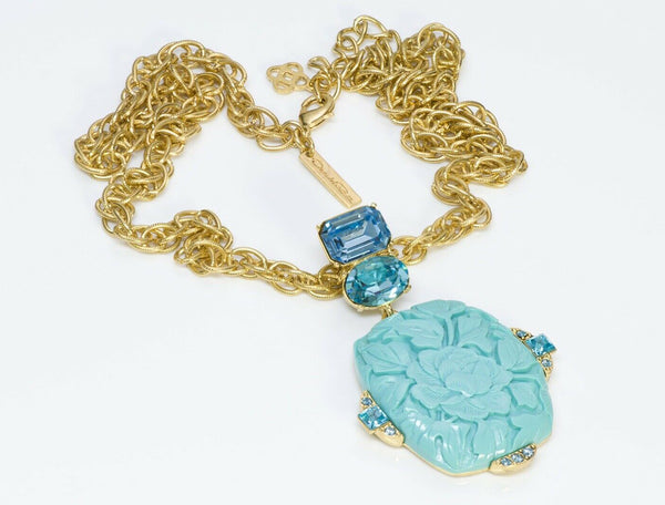 Oscar de la Renta Carved Flower Faux Turquoise Blue Crystal Pendant Necklace