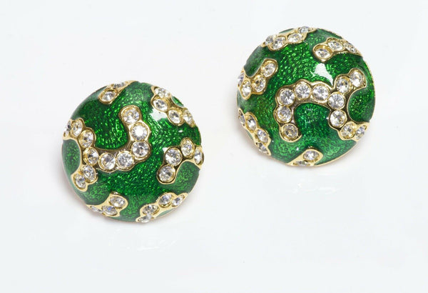 Oscar de la Renta Green Enamel Crystal Round Earrings