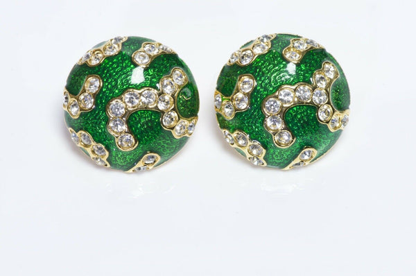 Oscar de la Renta Enamel Crystal Round Earrings