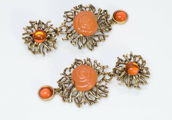 Oscar de la Renta Long Orange Glass Shell Earrings