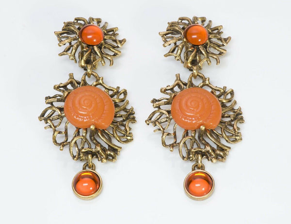 Oscar de la Renta Long Orange Cabochon Glass Shell Earrings