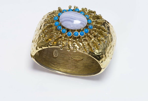 Oscar de la Renta Wide Hammered Blue Cabochon Glass Bangle Bracelet